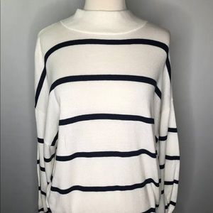Navy Blue Ivory Striped Long Sleeve sweater